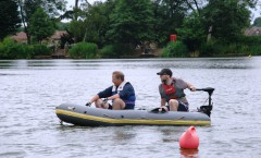 Silent. rechargeable battery powered inflatable safety boat  assists training.